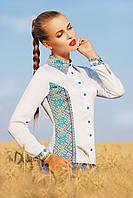 Белая блузка с принтом на манер украинской вышиванки Узор С2 блуза Марта 2Н д/р