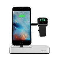 Элитная, алюминиевая док-станция, премиум класса, Belkin Valet Charge Dock Silver для Apple Watch и iPhone - серебряная (F8J183vfSLV)