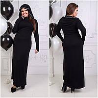 Однотонное платье макси с капюшоном и длинным рукавом с отверстием для большого пальца батал