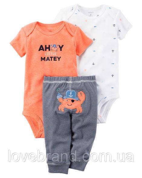 """Набор""""Краб"""" два боди и штанишки Carter's для мальчика оранжевый, белый,чорный 3 мес/55-61 см"""