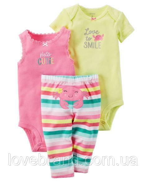 """Набор """"Крабик"""" два боди и штанишки веселые попки Carter's для девочки желтый, розовый 3 мес/55-61 см"""