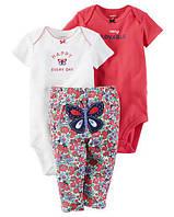 """Набор """"Бабочка"""" два боди и штанишки веселые попки Carter's для девочки красный, белый 18 мес/78-83 см"""