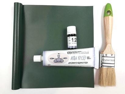 Тканина ПВХ для ремонту човна - шматки, обрізки тканини пвх болотного кольору - ремкомплект для човни пвх