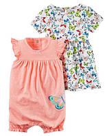 """Летний набор платтье и ромперер """"Бабочка"""" Carter's для девочки оранжевый, белый 9 мес/67-72 см"""
