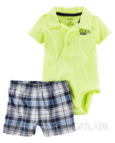 Летний набор Carter's для мальчика зеленый, синий 12 мес/72-78 см