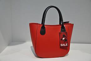 Сумка женская кожаная Италия 0134-129631 красная, фото 2