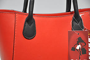 Сумка женская кожаная Италия 0134-129631 красная, фото 3