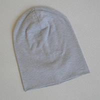 Детская шапка бини. Светло-серый меланж. Все размеры от 44см.