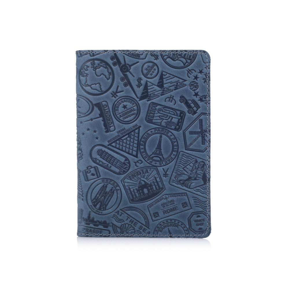 """Дизайнерская кожаная обложка для паспорта голубого цвета, коллекция """"Let's Go Travel"""""""