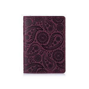 """Фиолетовая дизайнерская кожаная обложка для паспорта, коллекция """"Buta Art"""""""
