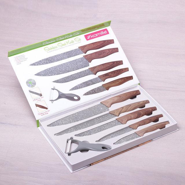 Набор кухонных ножей в подарочной упаковке 6 пр Kamille KM-5043