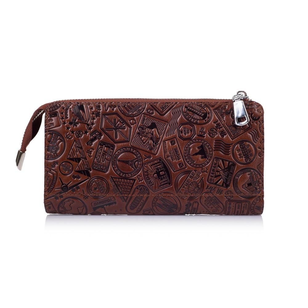 """Удобный кожаный кошелек на молнии коньячного цвета, коллекция """"Let's Go Travel"""""""