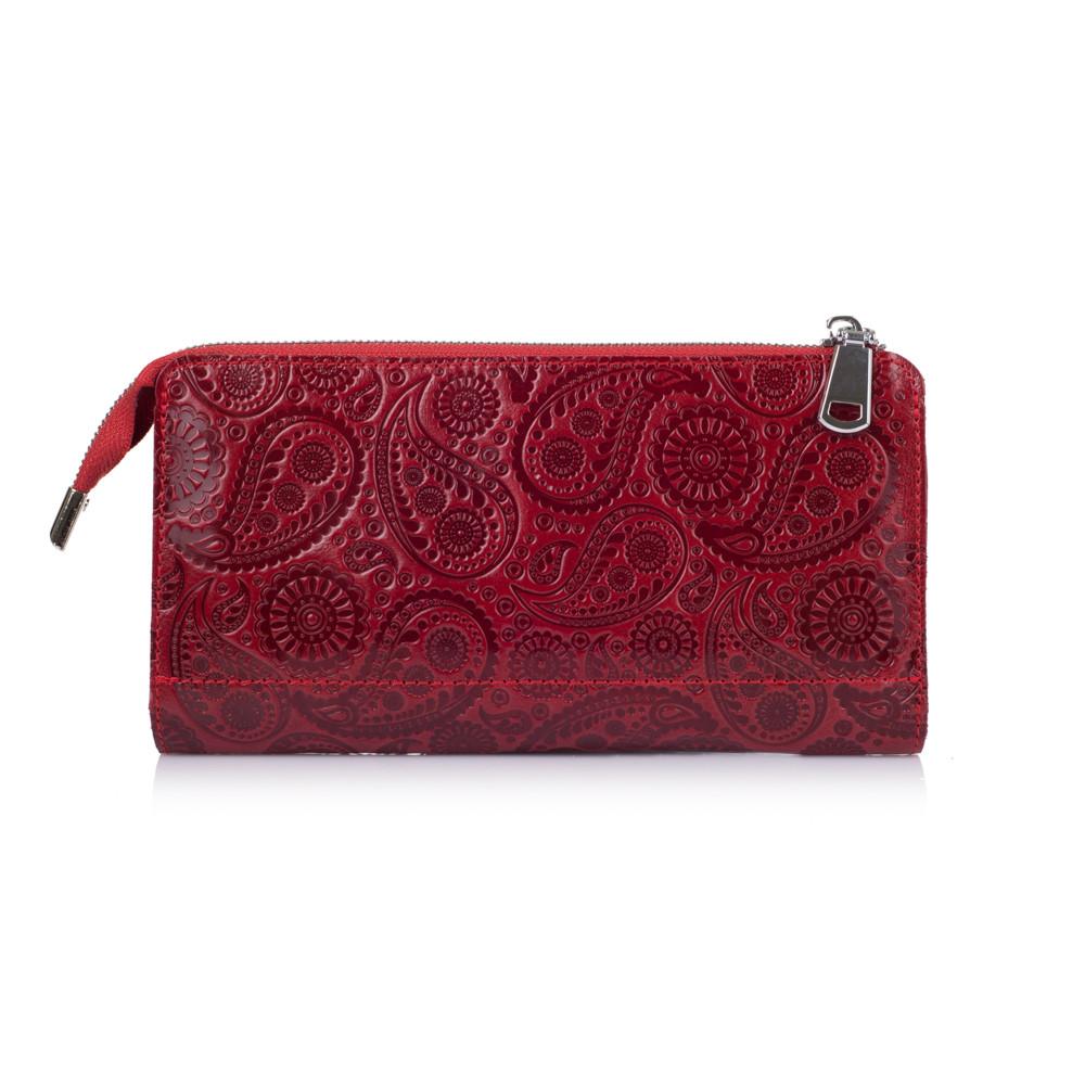 """Красивый кожаный кошелек на молнии красного цвета, коллекция """"Buta Art"""""""