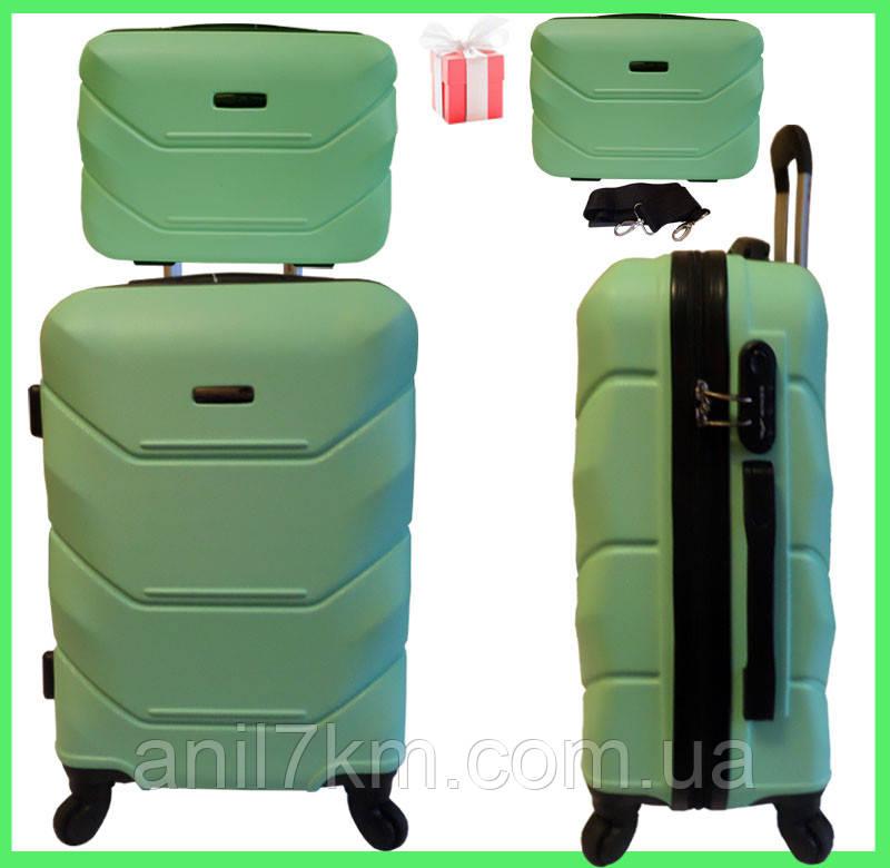 Большой  ударопрочный чемодан  на четырёх колёсах + кейс в подарок