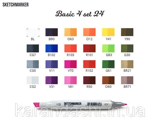 Набор SCETCHMARKER 24цвета тонкий-скошенный Basic Set4 24BAS4 (поступление 08.2018г), фото 2