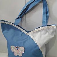 Женская голубая сумка «Бабочка» 24х24 см