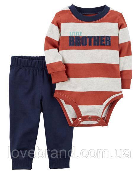 """Набор """"Маленький братик"""" штанишки и боди Carter's для мальчика оранжевый, белый,чорный 9 мес/67-72 см"""