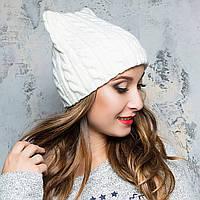 Вязаная шапка женская с ушками, подростковая теплая