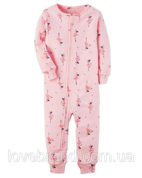 """Человечек Ballerina Snug Fit Cotton Footless PJs """"Балерины"""" бес носочков Carter's для девочки розовый 18 мес/78-83 см"""