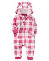 Комбинезон Fleece Jumpsuit кубик Carter's для девочки розовый, белый 12 мес/72-78 см