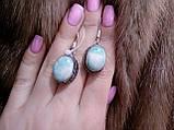Серьги с ларимаром. Серьги с натуральным камнем ларимар (Доминикана) в серебре., фото 2