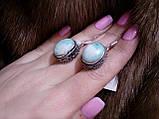 Серьги с ларимаром. Серьги с натуральным камнем ларимар (Доминикана) в серебре., фото 4