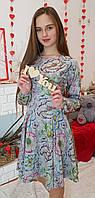 Платье Рыбка  р.146-164 разноцветные цветы