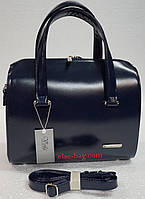 Женская сумка из матового лака полукруглая