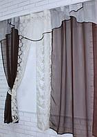 Кухонная занавесь, шторки гардина с подвязками е435