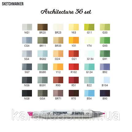 Набор SCETCHMARKER 36цветов тонкий-скошенный Architecture 36arch, фото 2