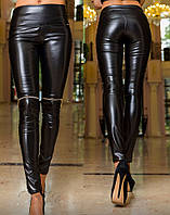 Кожаные леггинсы с молниями на коленях
