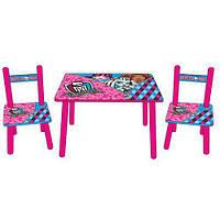 Набор детской деревянной мебели Столик + 2 стульчика Monster High BAMBI