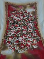 Подарочная льняная скатерть в цветы 150*220.