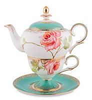 """Чайный набор """"Роза"""" (Milano Rose Pavone) из костяного фарфора JK- 71"""