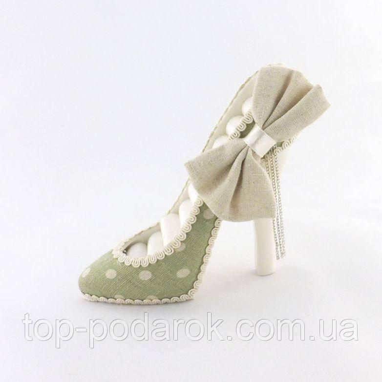 Подставка туфелька зеленая для украшений