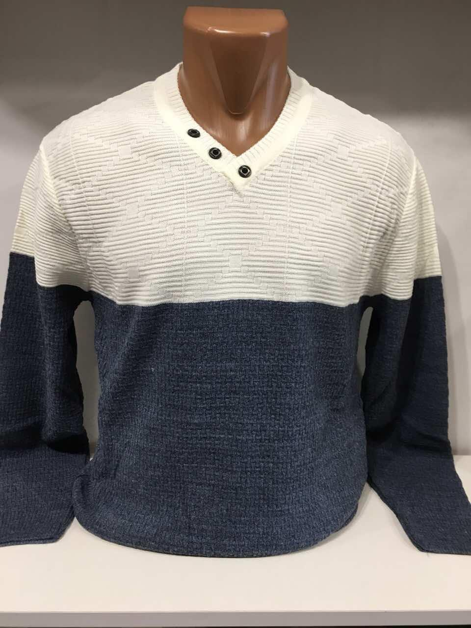 d5aa280ff60a7 Мужской стильный свитер/Турция/белый с синим оптом: продажа, цена в ...