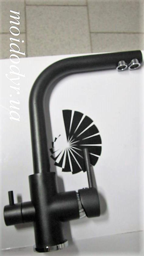 Смеситель  AquaSanita  Akvaduo 2663 гранит (601 - черный металлик) с подключением к водному фильтру