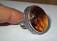 """Шикарное кольцо """"Коньяк"""" с цитрином, размер 18,5  от студии LadyStyle.Biz"""
