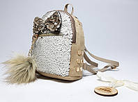 Женский светло-коричневый мини рюкзак с бантиком и двухсторонними пайетками