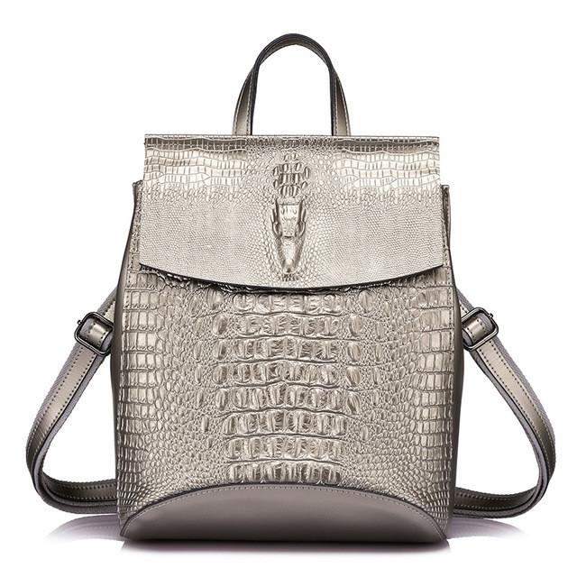 d6f02ceea6b1 Рюкзак сумка женский городской кожаный с тиснением под крокодила  (серебристый) - Интернет-магазин