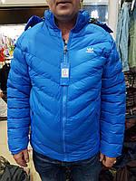 Мужская брендовская куртка adidas  деми  голубого цвета оптом