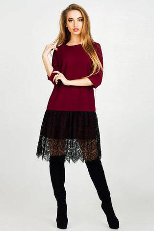 Нарядное платье женское Лера цвет бордовый  размер 42,44,46 , фото 2