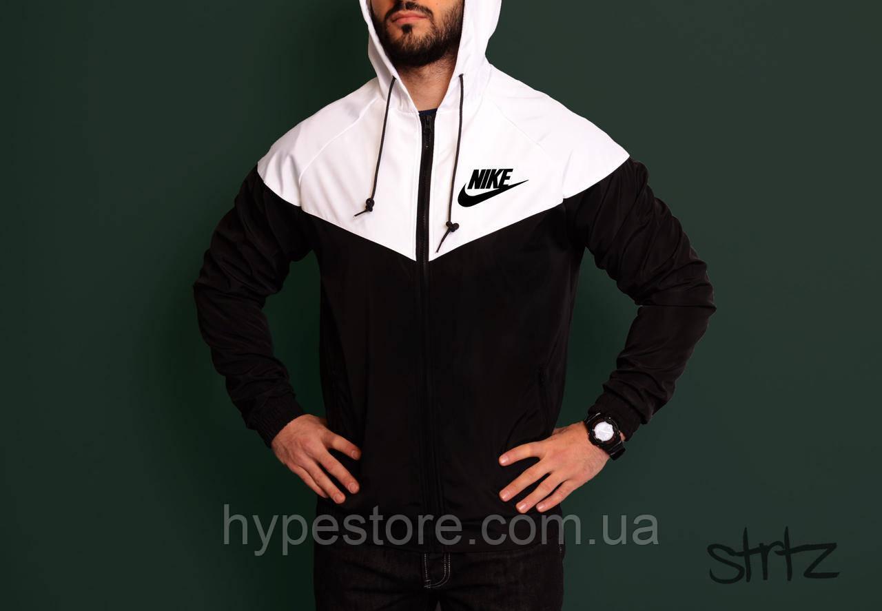Анорак, ветровка, виндраннер Nike (черно-белый), Реплика