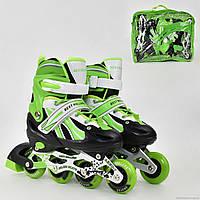 """Ролики 2001 """"S"""" Best Rollers цвет- САЛАТОВЫЙ /размер 30-33/ (6) колёса PVC, переднее колесо со светом"""