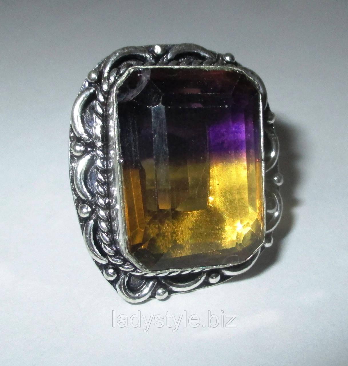 Серебряный перстень с аметрином 17 размера от LadyStyle.Biz