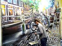 Картина на холсте в кофейне (Амстердам)