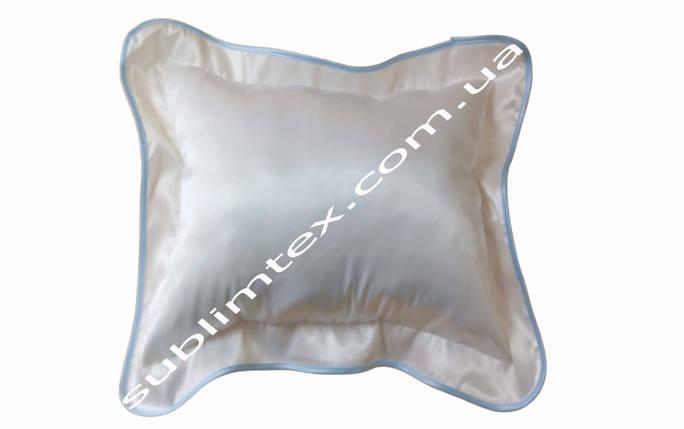 Подушка атласная,натуральный наполнитель,метод печати сублимация,размер 35х45см,цвет Каймы голубой, фото 2