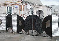 Кованые ворота с калиткой, код: 01020