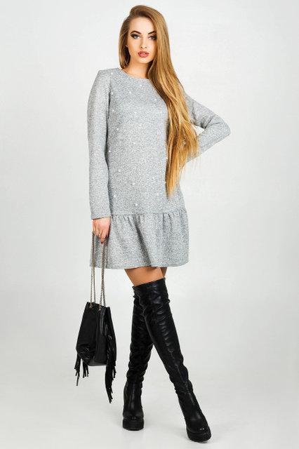 Нарядное платье женское Бренда ангора цвет серый  размер 44,46,48