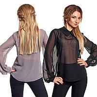 Прозрачная женская блуза с пышными рукавами и воротничком